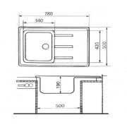 Кухонная гранитная мойка Lidz №203 780x500