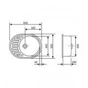 Кухонная гранитная мойка Lidz №204 620x500