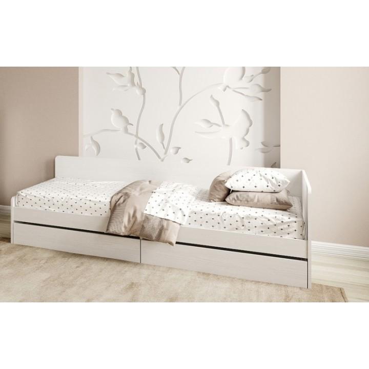 Кровать Соната 800 Нимфея Альба с ящиками 80х190